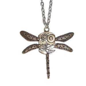Steampunk Dragonfly Necklace Long NWOT Clasp Chain